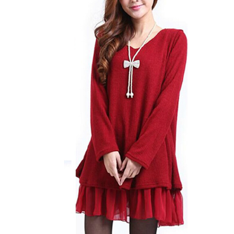 808c6b1879ddf 2018 New Winter Sweaters Dress Women Big Oversized Knitted Chiffon  Pullovers Plus Size L~4XL Long Sweater Casual Knitwear Poncho
