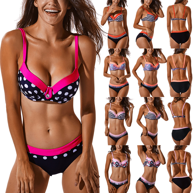 b8e956fce7d Large Size Striped Patchwork 2018 Women Push up Swimsuits Bikini set Sexy Retro  Swimwear Female Bandage Biquini Bather Beachwear