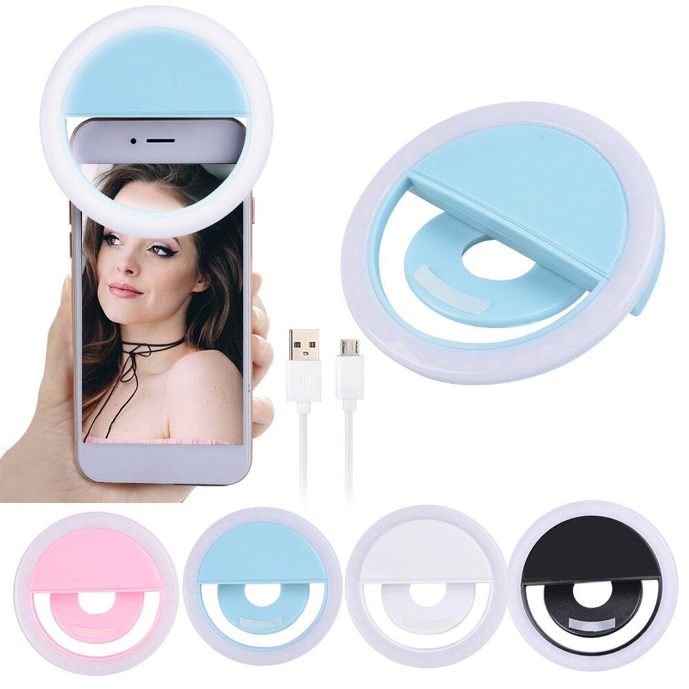 USB Selfie LED Ring Flash Light Portable Mobile Phone LED Selfie Lamp Phone Photography Ring Light Flash Light(China)