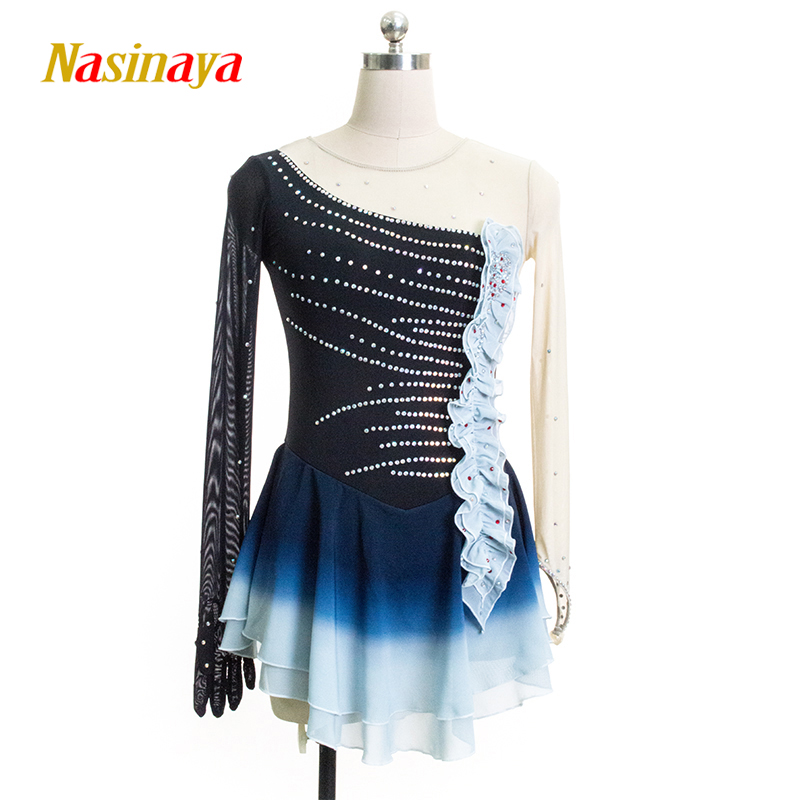Nasinaya Figure Skating Dress Customized Competition Ice Skating Skirt for Girl Women Kids Patinaje Gymnastics Performance 61 figure skating clothing black ice skating dress custome hot sale girls skating suit absorb sweat washable spandex dance wear