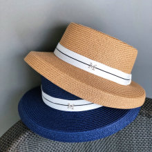 Womens Hepburn Sun Hat French Fashion Black White Navy Blue Coffee Floppy Straw Hats Beach Shade Big Eaves Bell A049