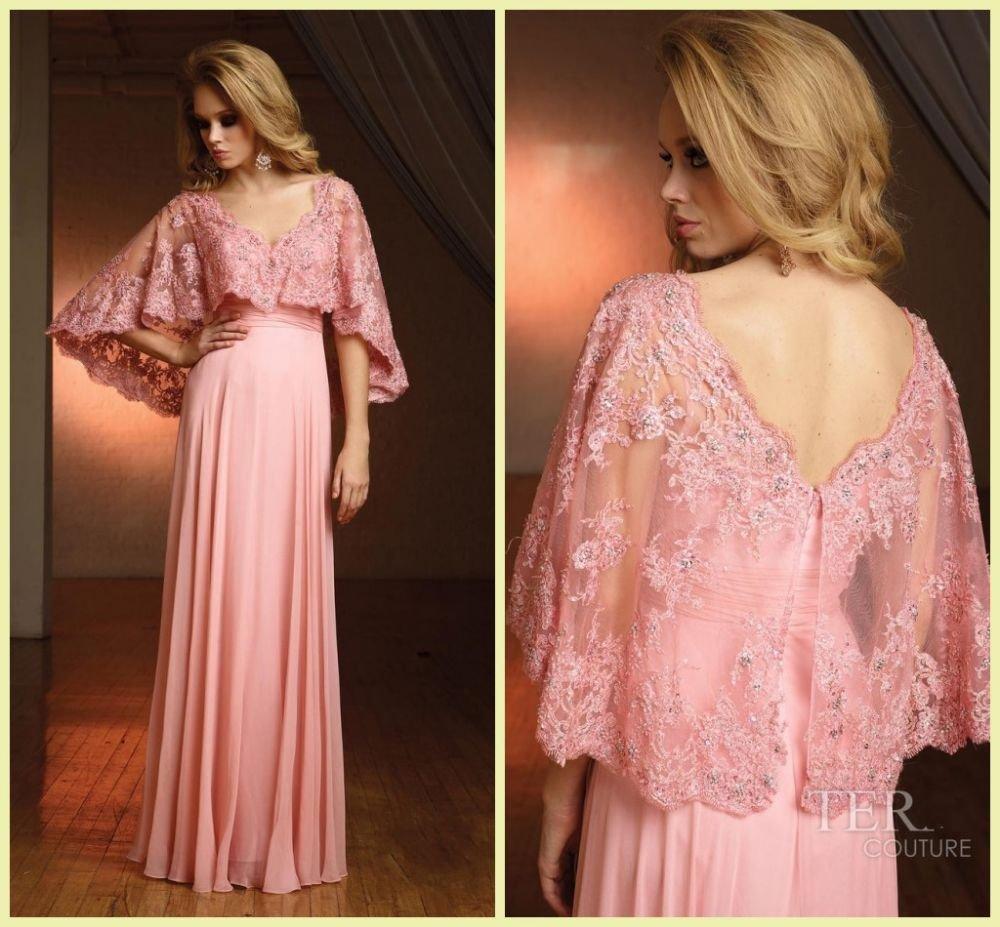 Nueva Llegada Formal de Rosa Vestidos de Noche V Cuello de La Gasa ...
