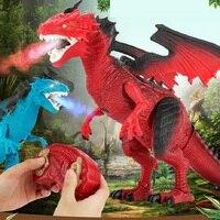 Infrared RC Dinosaur Toys Remote Control Dragon Shaking Head Light Up Eyes Walking Spray Dino Christmas Creative Toy