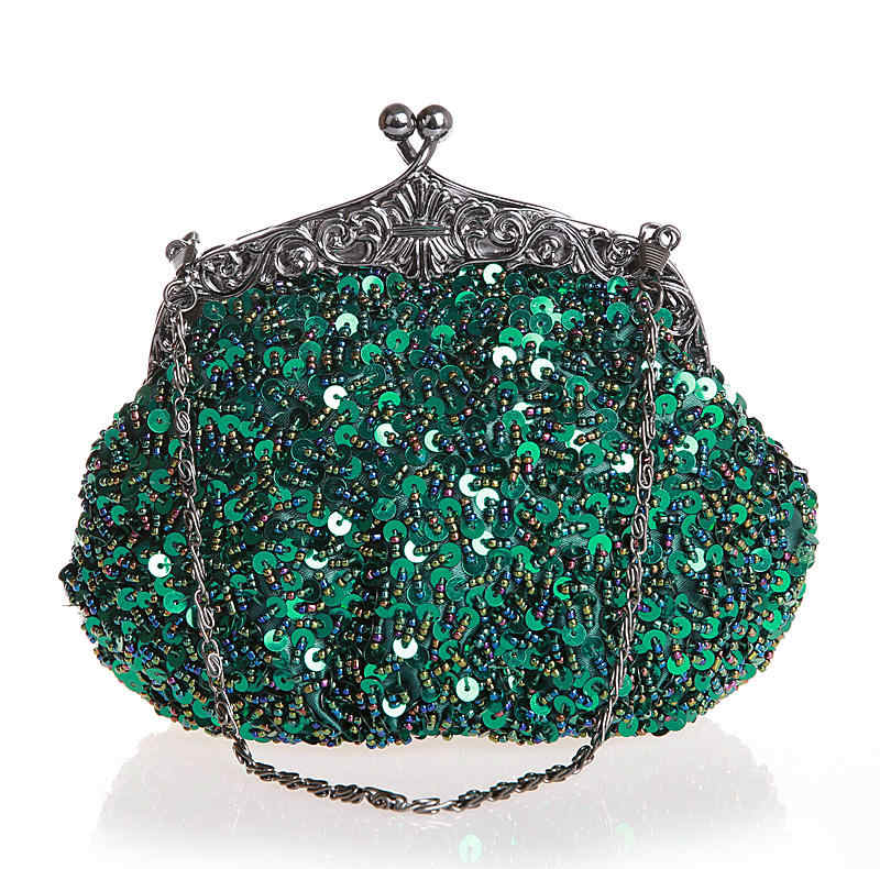 Green Chinese Women's Beaded Sequined Wedding Evening Bag Clutch handbag Bride Party Purse Makeup Bag Free Shipping 03162-N