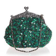 Green Chinese Women s Beaded Sequined Wedding Evening Bag Clutch handbag Bride Party Purse Makeup Bag