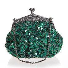 Green Chinese Women s Beaded Sequined Wedding Evening Bag font b Clutch b font handbag Bride