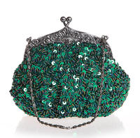 Green Chinese Women's Beaded Sequined Wedding Evening Bag Clutch handbag Bride Party Purse Makeup Bag Free Shipping 03162 N