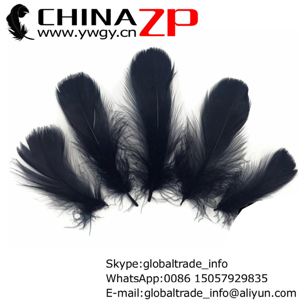 Wholesale in CHINAZP Factory 100pieceslot Gorgeours and Graceful Dyed Black Goose Nagoire Loose Feathers