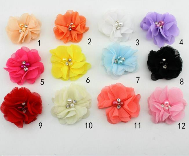 100 pcs/lot Exquis BRICOLAGE Mousseline de Soie Fleur Avec Perles Perles Femmes de Partie De Robe De Mariage D'ornement hf003