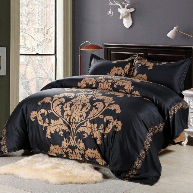Bedding Set Black White Flower Duvet Cover Reversible Floral