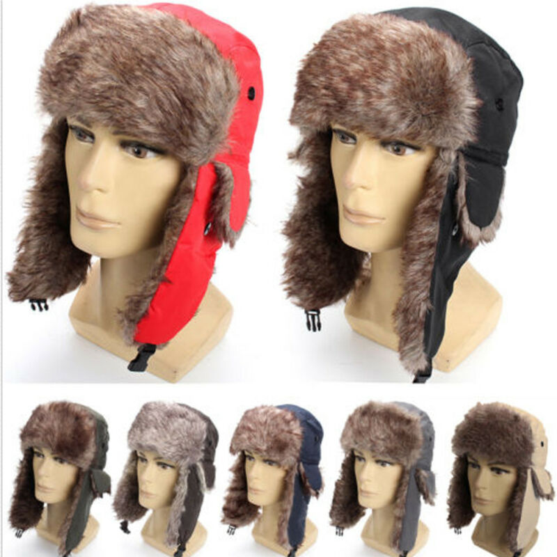 Mens Women Unisex Warm Trapper Aviator Trooper Earflap Winter Flaps Ski Hat New
