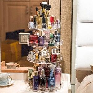 Image 5 - Extra Large Capacity 360 Degree Rotating Makeup Organizer Lipstick Holder Adjustable Multi Function Cosmetics Storage Box