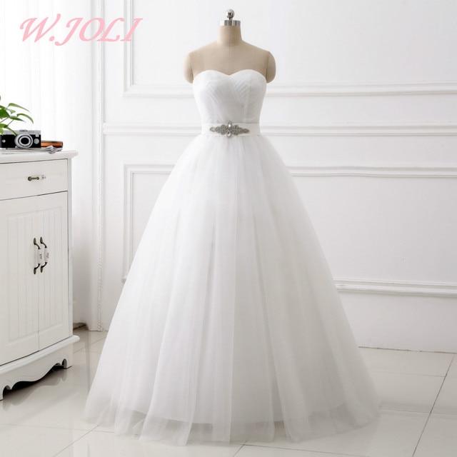 W.JOLI Wedding Dresses Simple Long Lace Up Sleeveless Pleat Ball ...