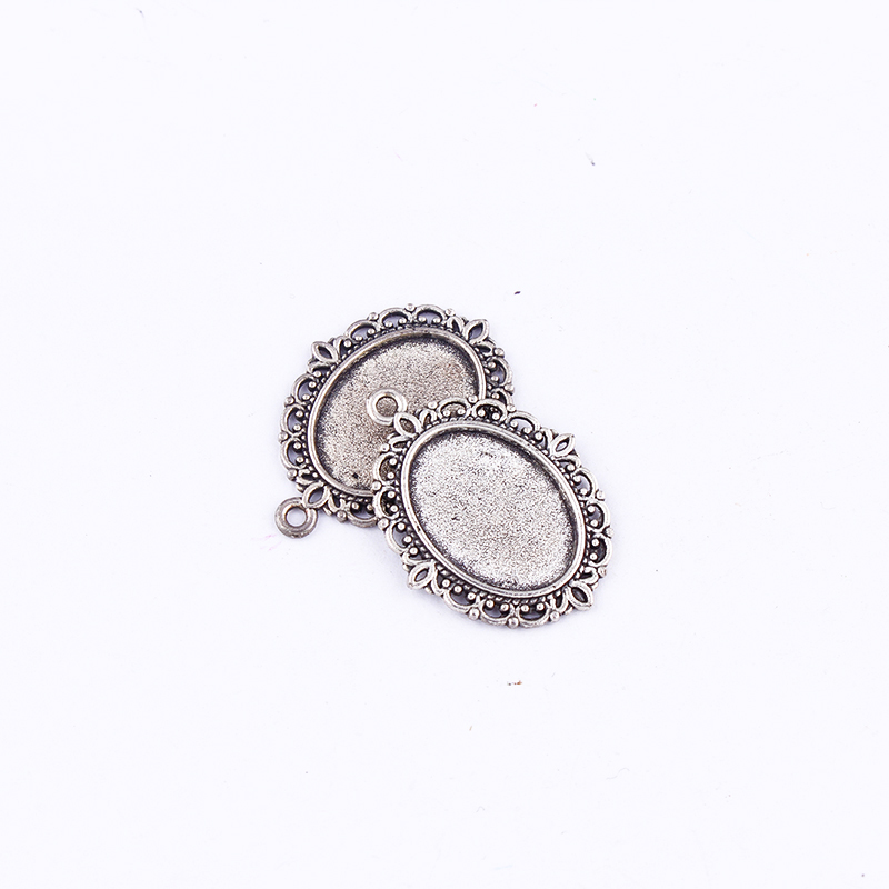 10pcs 18*13mmSliver Plated Oval Necklace Pendant Setting Cabochon Cameo Base Tray Bezel Blank Jewelry Findings&components