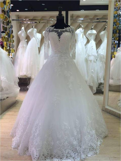 Lace Long Sleeves Long Floor Length Custom Made Formal Bridal Gowns ...