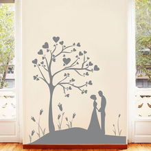 YOYOYU 40 colors Vinyl wall stickers muraux Couple Under Tree Pattern Removeable Wall Decal Livingroom Bedroom Wall Decor ZX201 quality floating dandelion pattern removeable wall stickers