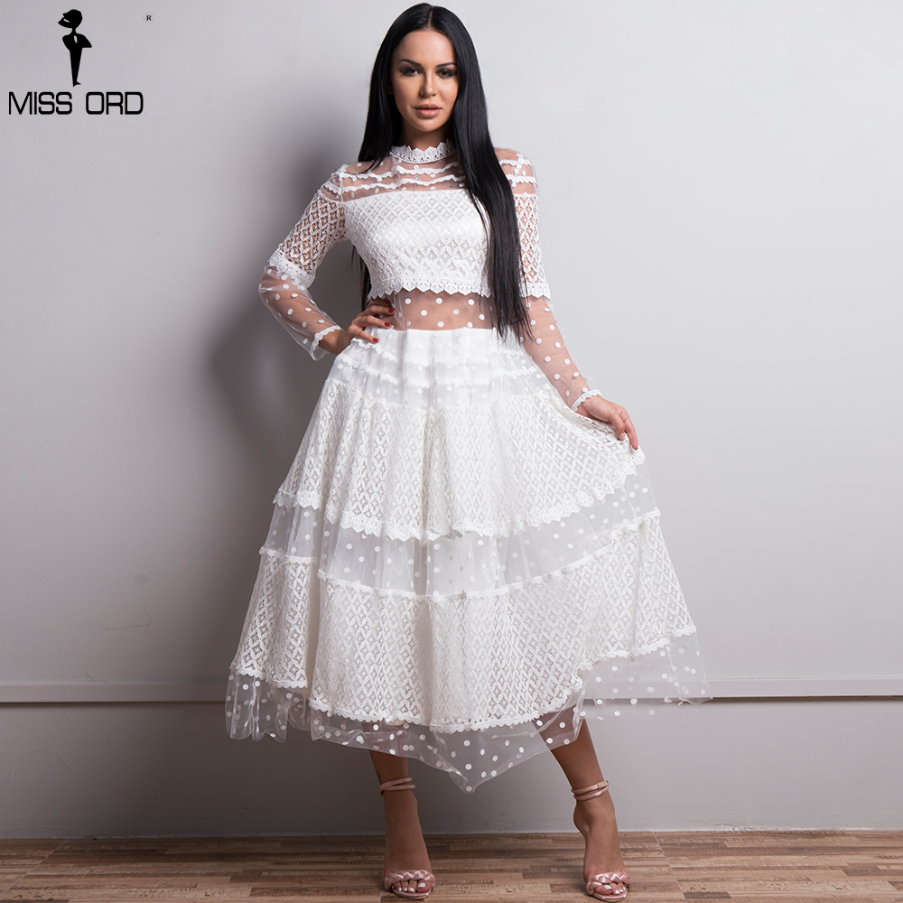 Missord 2019 Women Sexy High Neck Long Sleeve Dot  Dresses Female Lace Dress See Through Casual Elegant Dress  FT18425