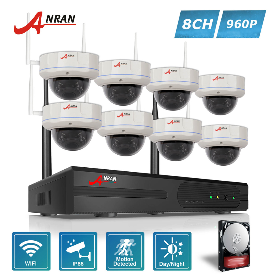 ANRAN Security P2P 8CH WIFI 30 IR Vandal-proof Dome Video 1.3 MP 960P IP Wireless Camera Home CCTV NVR System Hard Disk