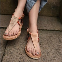 2016 new arrival original design genuine leather handmade women sandals flat casual flip flops women shoes