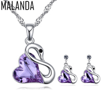 MALANDA Brand Fashion Heart Crystal From Swarovski Classic Swan Necklaces Stud Earrings Sets For Women Wedding Jewelry Sets(China)