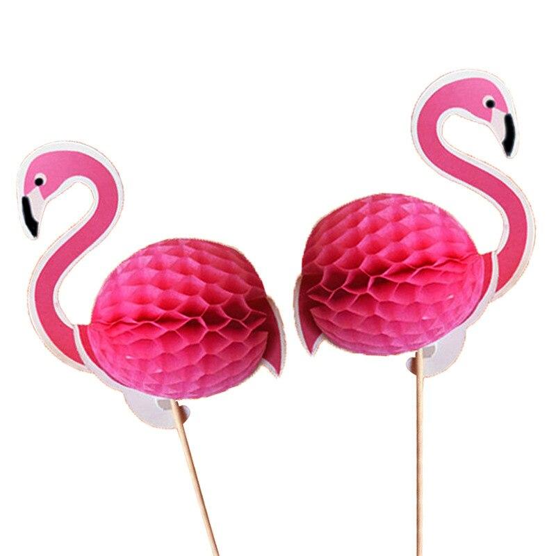 Визуальный контакт 10X пористый шар 3D выпечки топперы на свадебный торт фламинго и ананасы DIY Кекс для вечеринки вставить карту декоративный для Бэйби шауэра - Цвет: Flamingo