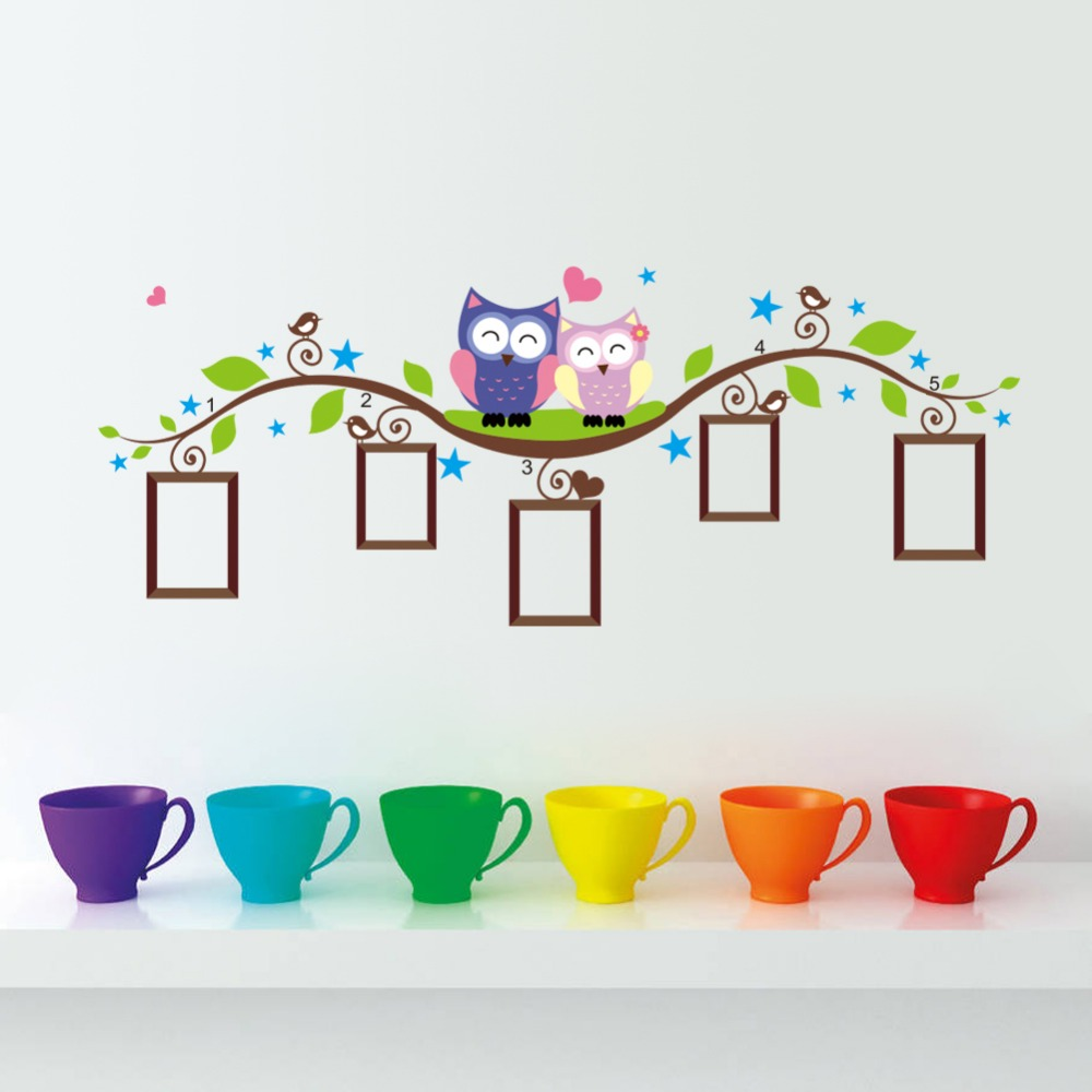 %owls photo frame wall stickers home decoration bedrrom animals wall decals mural art living room cartoon flower vine zooyoo1021