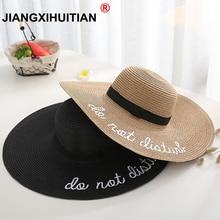 Marca 2018 nueva letra bordado gorra de ala grande señoras verano paja  sombrero jóvenes sombreros para mujeres sombra sombreros . 4e242096d07