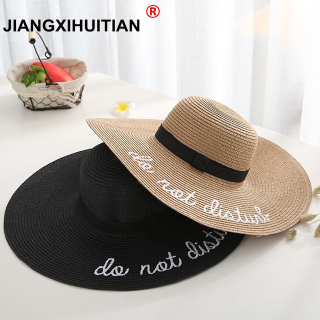 de700440a 2019 Hot letter embroidery cap Big brim Ladies summer straw hat youth hats  for women Shade