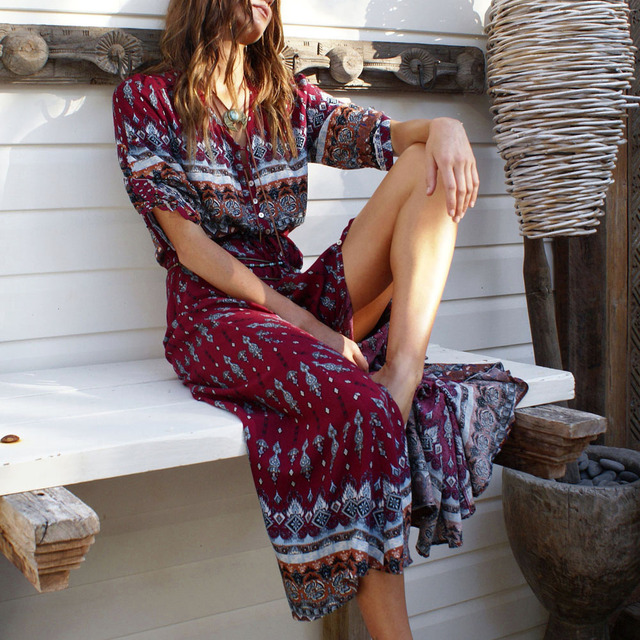 Women Bohemia V-neck Three Quarter Sleeve Floral Print Ethnic Autumn Beach Boho Long Dress Retro Hippie Vestidos Boho Dress 4