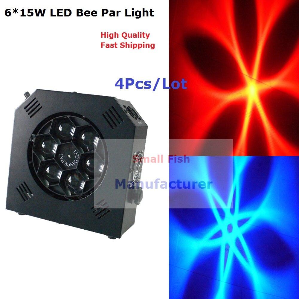 2017 New Design 4XLot 100W LED Bee Eye Beam Par Stage Lighting 10 DMX Channel Hi-Quality Hot Sales 6X15 LED Par Lights Free Ship