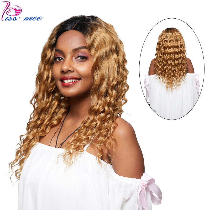 KISSMEE Loose Deep Wave Lace Front Wig For Black Women Brazilian Hair Blonde Ombre Lace Front Wig 1B#27 Remy Hair With Baby Hair