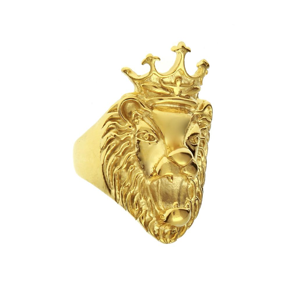Mens Stainless Steel Rings Crown Lion 40mm Rings Vintage Retro Ring Bands Gold Color Size 8-11