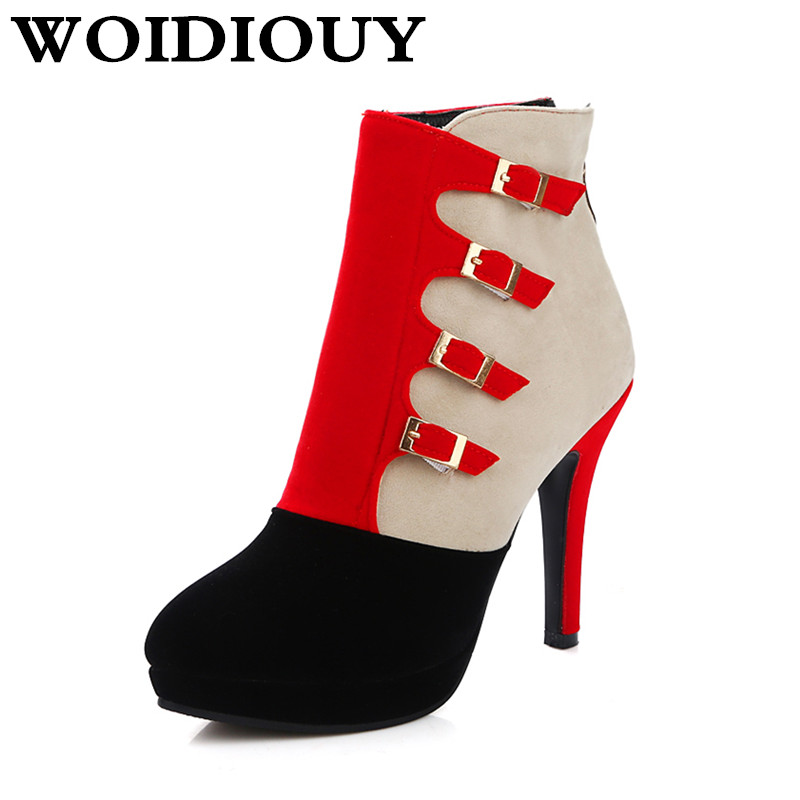 Boots Thick high heel 11cm Patchwork wedding shoes round head Women Boots High Heels Pla ...