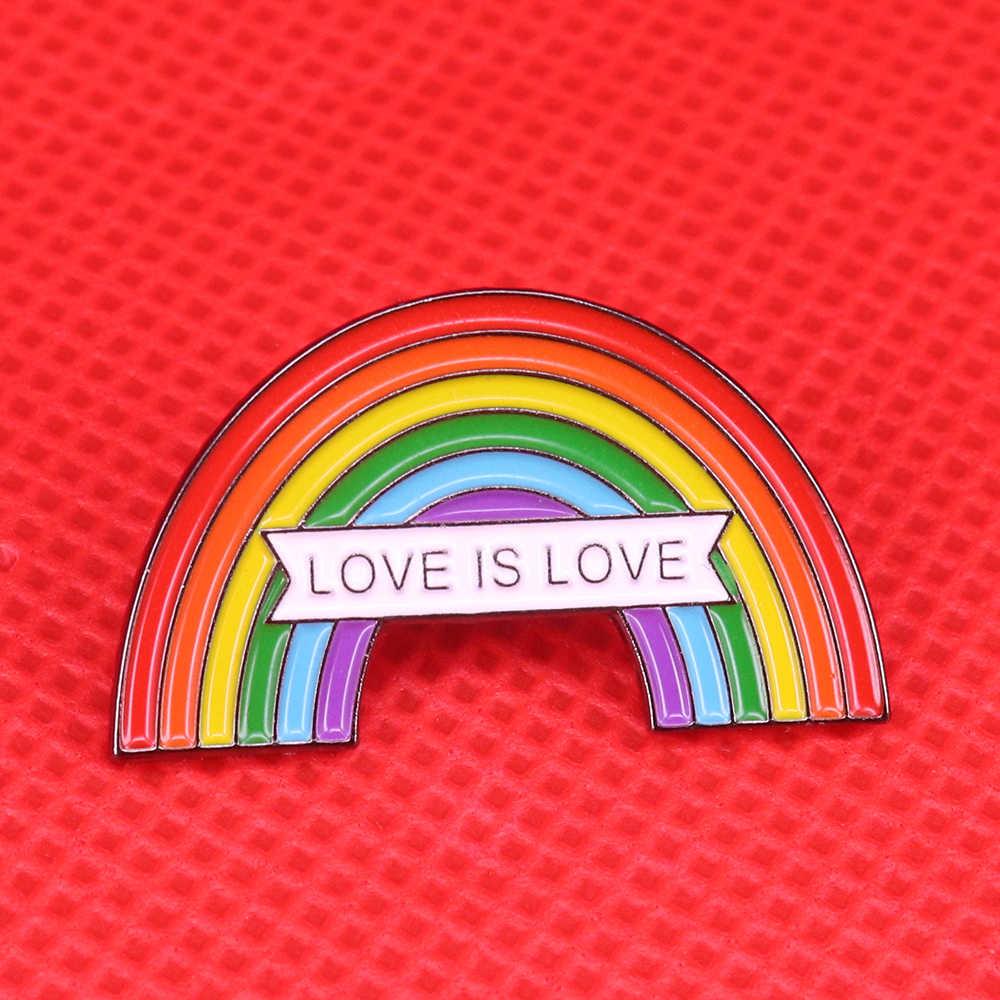Arcobaleno smalto pin gay pride spilla amore è amore dello stesso sesso matrimonio distintivo pari amore perni di attivista LGBT gioielli di San Valentino regalo