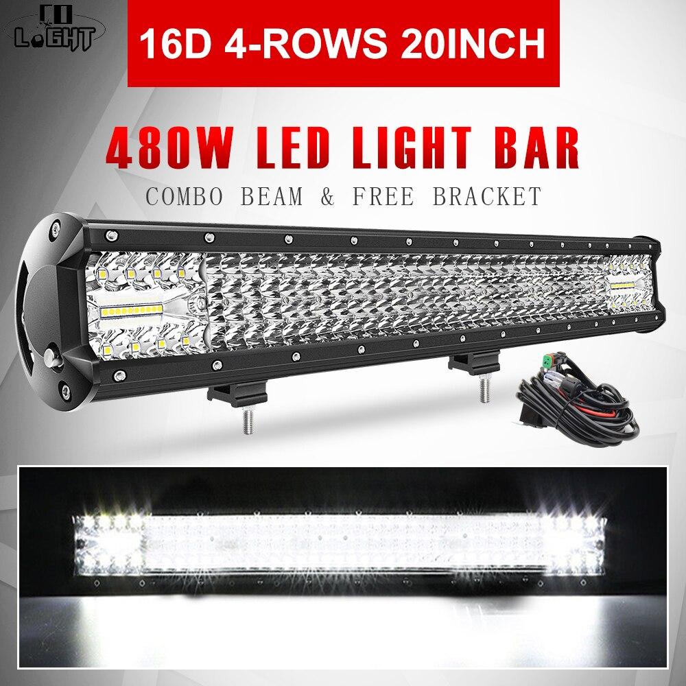 CO LIGHT 20 480W Work Light 16D 4-Rows LED Bar Combo Beam Offroad 4WD 4x4 12V 24V for Car ATV SUV Truck Vehicles