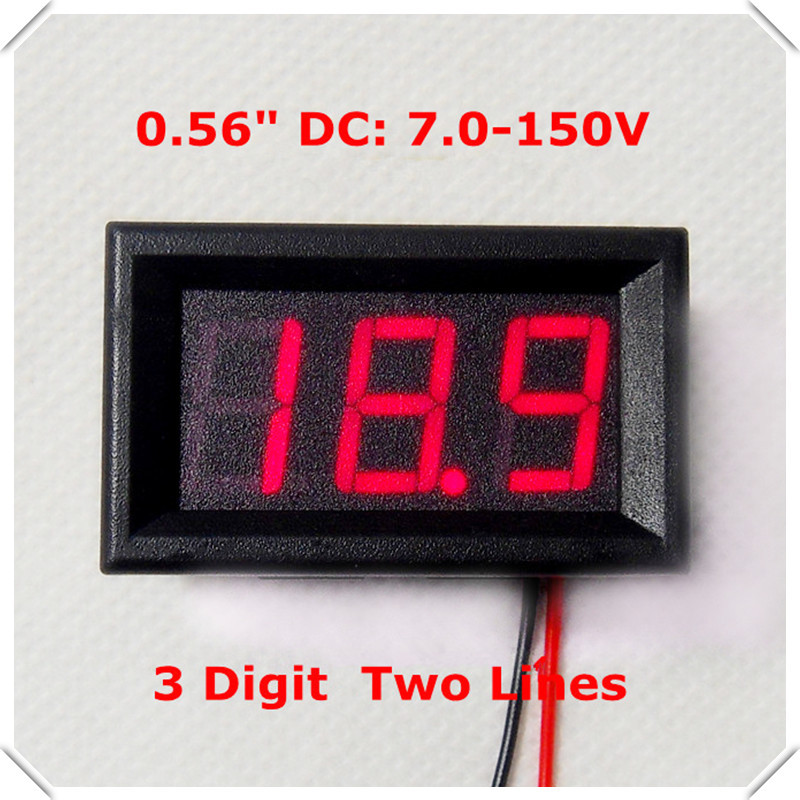 RD 0.56 Digital Voltmeter DC7-150V Two Wires Electric bicycle car Voltage Panel Meter led Display Color [ 4 pieces  lot]