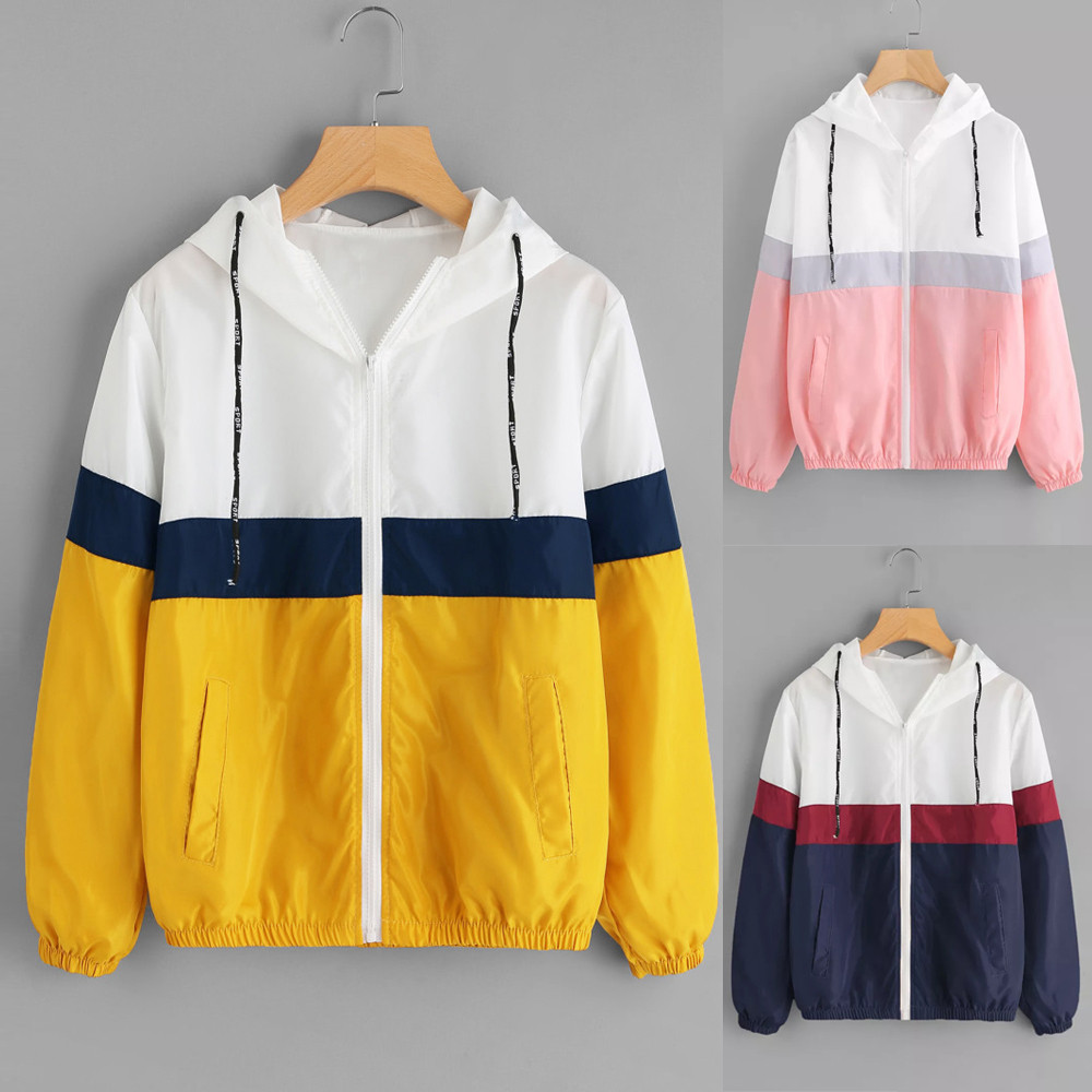 Elegant satin   basic     jacket   coat Women Long Sleeve Patchwork Thin Skinsuits Hooded Zipper Pockets Sport Coat   jacket   outwear