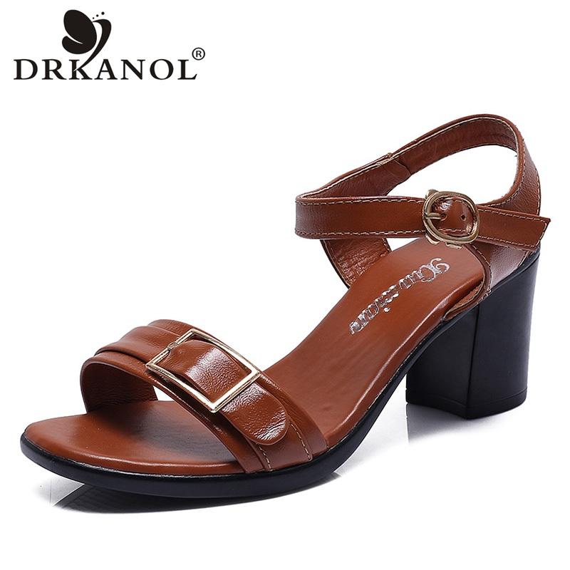 DRKANOL Summer Women Sandals 2018 Fashion Genuine Leather Thick Heel Sandals Women Buckle High Heel Elegant Peep Toe Party Shoes