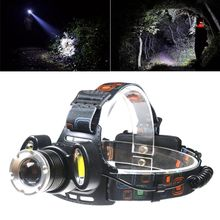 4 Modes 3-LED Headlamp Outdoor Flashlight T6 + 2COB Headlight Adjustable Zoom