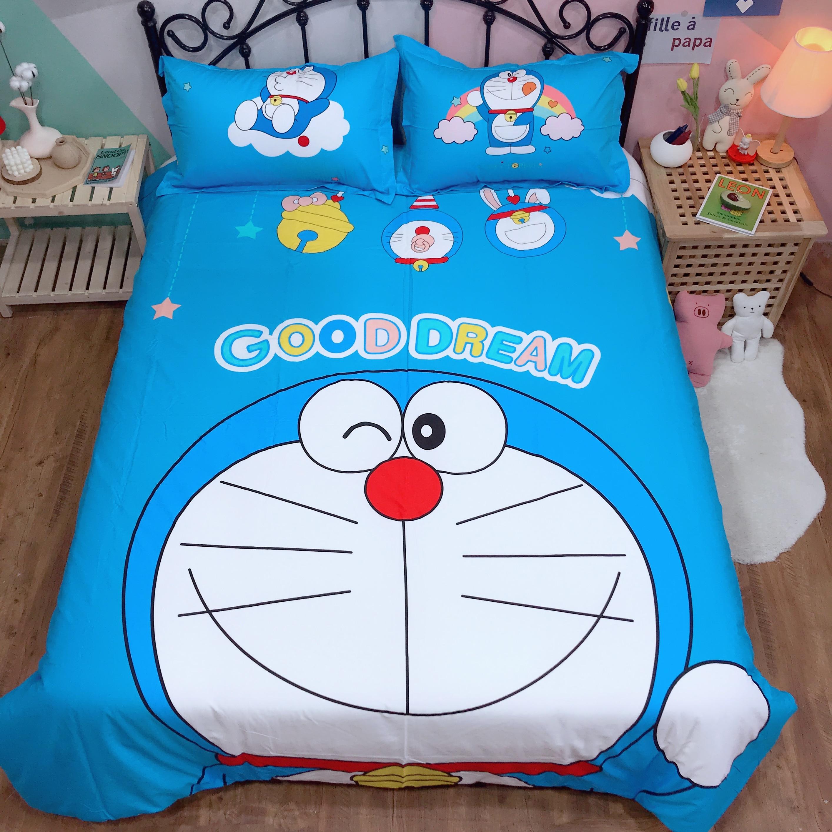 Cartoon Bedding Set Doraemon Kids Bedroom Pure Cotton Quilt Cover