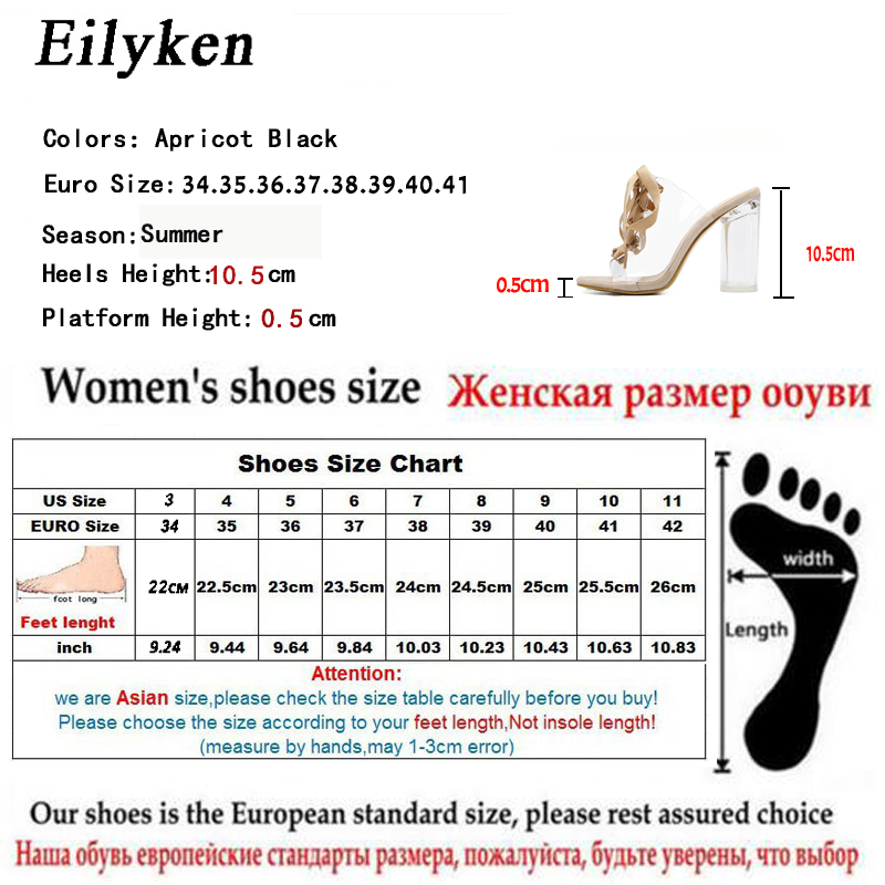 6a7b4a34a550 Eilyken 2018 New Sexy PVC Transparent Gladiator Sandals Peep Toe Lace Up  Shoes Clear Chunky heels Sandals slippers Women-in High Heels from Shoes on  ...