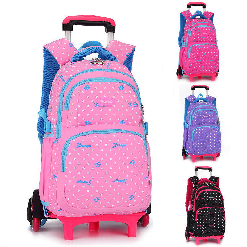 Children's Travel Luggage Backpack On Wheels Girls Boy's Trolley Backpack With Wheel For Shcool Kids Rolling Bag School