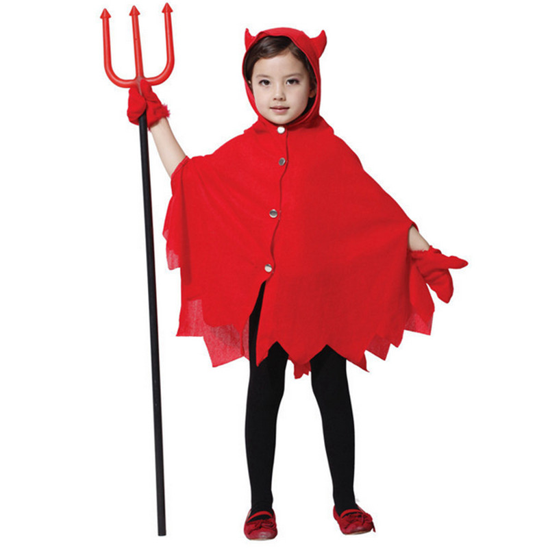 2015 latest high quality Halloween children Costume performance wear red devil cape cloak with hat gloves Cosplay clothing