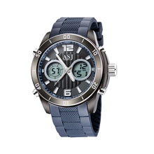 hot style ASJ men watches new double quartz movement imported silica gel multifunctional led digital electronic watch