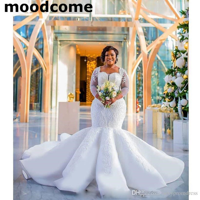 f41054e92dc2d South African Mermaid Wedding Dresses Lace Appliques Plus Size Sheer Long Sleeves  Bridal Gowns Satin Sweep Train Wedding Vestido