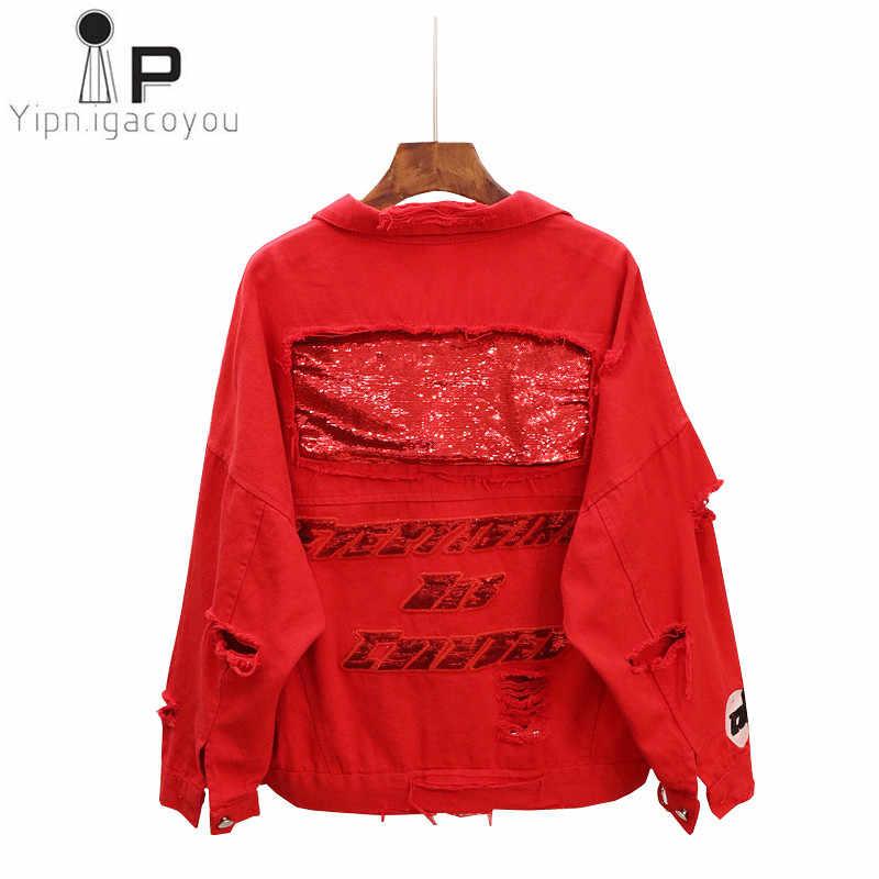 Czerwony czarny Denim kurtka kobiety podstawowe płaszcz 2019 jesień duży rozmiar otwory krótkie cekiny jeansowa kurtka Harajuku moda kobiet Jeans płaszcz