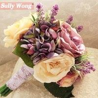 Sully Wong 2017New Zijde bloem bruidsboeket Exquisite kunstbloemen fall vivid fake leaf wedding bruidsboeketten