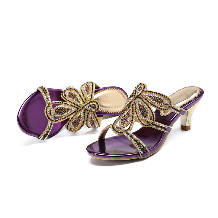 New Luxury Diamond Stiletto High Heels Slippers Online Shopping Peep Toe Womens Shoes Sale High Quality Gold Purple Black Red17
