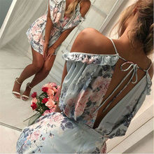 Bohemian Loose Strap Playsuit Print Big Pink Flower Floral Ruffles Short Pant Jumpsuit Rompers Women Overalls Bodysuit Coveralls pink floral print spaghetti flap over detail bodysuit swimwears
