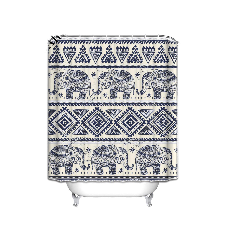 Ethnic Elephant Extra Long Shower Curtain , Vintage Tribal